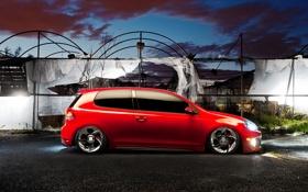 Картинка красный, volkswagen, профиль, red, гольф, golf, gti