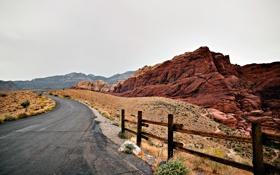 Обои дорога, небо, пейзаж, природа, скалы, каньон, road