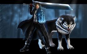 Картинка взгляд, оружие, волк, арт, охотник, Vampire Hunter