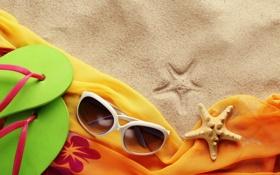Обои песок, море, очки, сланцы