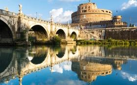 Картинка мост, отражение, река, Рим, Италия, Тибр, замок Святого Ангела
