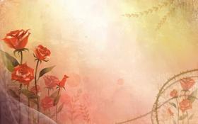 Картинка цветы, стиль, vector, розы, вектор, арт, art