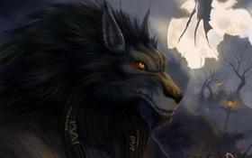 Картинка ночь, туман, луна, волк, крылья, монстр, существо
