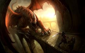 Картинка мост, люди, опасность, крылья, монстр, меч, воин