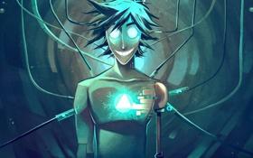 Обои парень, арт, робот, улыбка, провода
