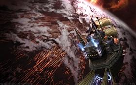 Обои космос, облака, корабль, планета, парусник, rogue galaxy, level-5