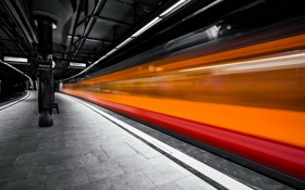 Обои город, метро, поезд