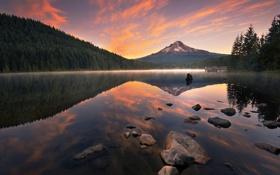 Картинка пейзаж, рассвет, лес, вода, озеро, берег, пристань