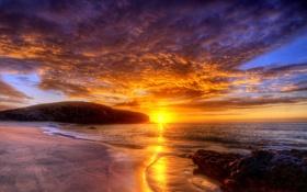 Обои закат, облака, скалы, небо, hdr, море