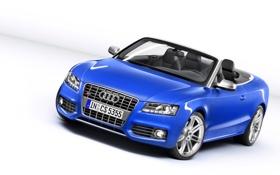 Обои Audi, Авто, Синий, Кабриолет, Лого, Решетка, Фары