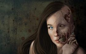 Картинка глаза, девушка, лицо, фантастика, волосы, руки, арт