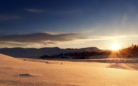 Картинка зима, небо, солнце, лучи, снег, пейзаж, закат