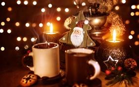 Обои мишка, Рождество, зерна, свеча, боке, кофе, напиток