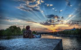 Обои закат, река, париж, HDR