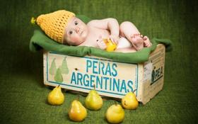 Картинка настроение, коробка, груши, младенец