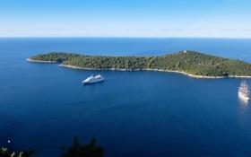 Обои море, деревья, растительность, остров, корабли, яхта, горизонт