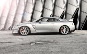 Обои серебристый, Nissan, GT-R, блик, ниссан, silvery