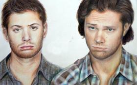 Обои лицо, арт, сериал, парни, Supernatural, Jensen Ackles, Sam