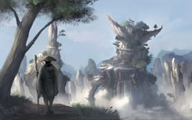 Обои скалы, азия, водопад, арт, храм, мужчина, посох