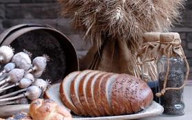 Обои мак, тарелка, хлеб, злаки, семечки, ломти, тмин