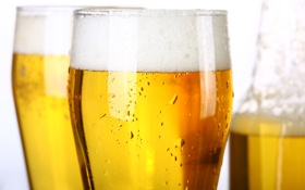 Картинка стекло, пена, капли, бокал, бутылка, пиво, светлое