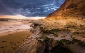 Обои скалы, небо, океан, водоросли, пляж, берег, тучи