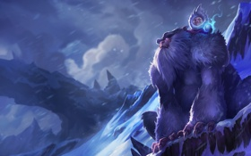 Картинка снег, горы, магия, мальчик, арт, йети, league of legends