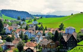 Обои горы, поля, дома, Швейцария, леса, Speicher