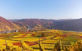 Картинка осень, горы, река, поля, дома, Германия, канал