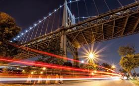 Картинка ночь, мост, город, огни, улица
