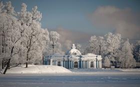 Картинка зима, снег, парк, вечер