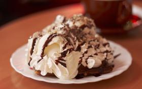 Картинка десерт, пирожное, шоколад, вафли, мороженое