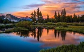 Картинка лес, закат, горы, природа, озеро, отражение