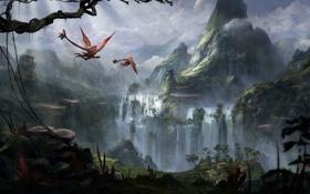 Обои пейзаж, планета, водопад, природа, горы, зелень, поверхность