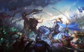 Обои жезл, сражение, девушка, битва, минотавр, всадник, воин