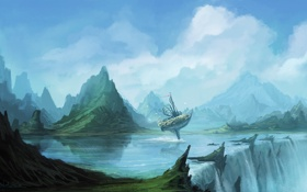 Обои вода, река, скалы, корабль, водопад, арт, летучий