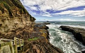Картинка море, пейзаж, природа, гора