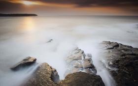 Обои море, закат, камни, штиль