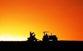 Обои пейзаж, силуэт, трактор