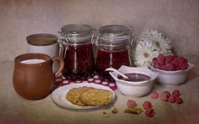 Картинка цветы, малина, молоко, печенье, посуда, натюрморт, варенье