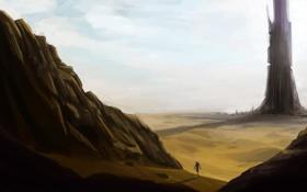 Обои скалы, человек, башня, арт, пустошь