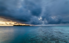 Обои закат, Maldives, Kihaad, океан, риф, остров
