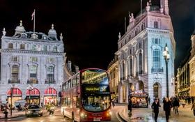 Картинка ночь, city, город, lights, улица, Лондон, night