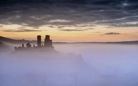Обои закат, туман, руины
