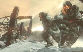 Обои зима, снег, оружие, маска, автомат, солдаты, killzone 3