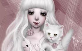 Обои кот, кукла, арт, девочка, doll, NImFpa
