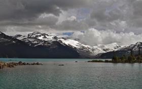 Картинка пейзаж, небо, озеро, панорама, деревья, елки, снег