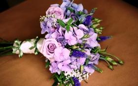 Картинка цветы, розы, букет, гортензия, эустома