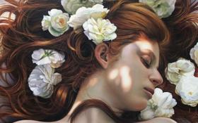 Обои девушка, рыжие волосы, живопись, art, белые цветы, закрытые глаза, Christiane Vleugels