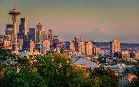 Обои здания, панорама, Сиэтл, Washington, Seattle, штат Вашингтон, Mount Rainier